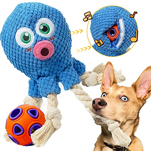 Rmolitty Dog Toys for Small Dogs, 2 in 1 Squeaky Plush Puppy Dog Toys Durable Chewing Toys Best Gift for Puppy Small and Medium Dogs Breed (Blue1)