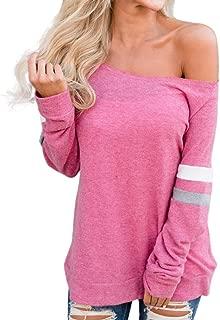 Womens Stripe Off Shoulder Sweatshirt Long Sleeve Pullover Casual T-Shirt Blouse Tops REYO S-2XL
