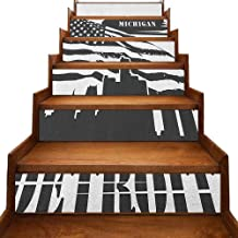 ThinkingPower Detroit Self-Adhesive Stairs Risers Stickers Wall Monochrome Grunge City Silhouette American Flag United States Michigan Waterproof Charcoal Grey White W 39