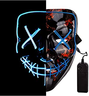 LED Purge Mask Halloween Scary Mask Cosplay Light Up Mask for Festival Cosplay Halloween Parties Costume