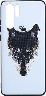 جراب خلفي رفيع ثلاثي الابعاد بطبعة ذئب لموبايل هواوي P30 برو من بوتر - اسود ورمادي