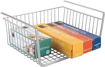 House of Quirk Under Shelf Basket Wire Rack Easily Slides Under Shelves for Extra Cabinet Storage - Silver