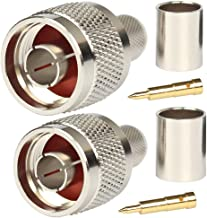 N Connectors Male Crimp Rf Coaxial Connector 50 ohm for LMR400 Belden 9913 RG8 Pack of 2 piece