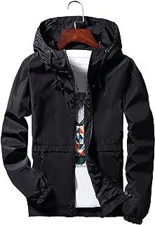 Blissmall ウィンドブレーカー メンズ ナイロン ジャケット 防風 登山 軽量 春秋冬 パーカー スタジアムジャンパー 618 BB7 (L, 黒(帽子))