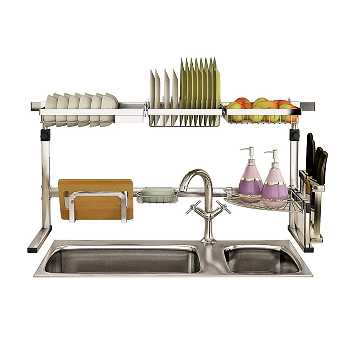呼吸アニメーション切断するキッチンラック304ステンレス鋼シンク排水バスケット食器棚キッチン収納ラックフルセット。