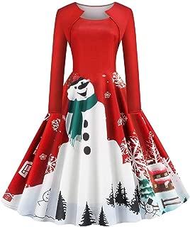 Womens Christmas Dress Snowman Printed Elegant Gown