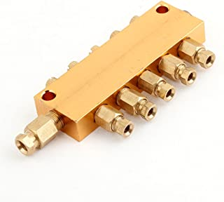 uxcell Brass 5 Way Adjustable Oil Distributor Valve Manifold Block 6mm Inlet