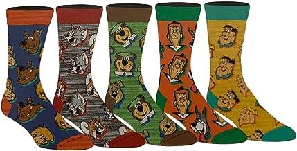 70's Cartoon Socks Men's Adult Crew - 5 Pair Jetson's, Flintstones, Tom & Jerry, Scooby, Yogi Bear