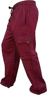 SHOPOHOLIC FASHION Men's Side Pocket Light Cotton Boho Hippy Trouser
