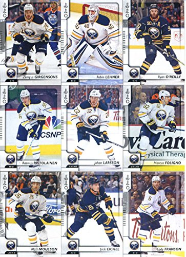 2017-18 O-Pee-Chee Hockey Buffalo Sabres Team Set of 15 Cards: William Carrier(#21), Sam Reinhart(#68), Evander Kane(#82), Brian Gionta(#153), Kyle Okposo(#186), Jake McCabe(#204), Matt Moulson(#239), Jack Eichel(#269), Rasmus Ristolainen(#316), Cody Franson(#322), Johan Larsson(#336), Marcus Foligno(#384), Zemgus Girgensons(#404), Robin Lehner(#418), Ryan O'Reilly(#490)