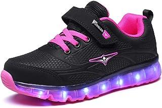 f9b8b1ae38380 Lovelysi Unisex Enfants Garçon Fille Lumineuse LED Chaussures USB  Rechargeable Securité Mode Dessus 7 Couleurs Clignotants