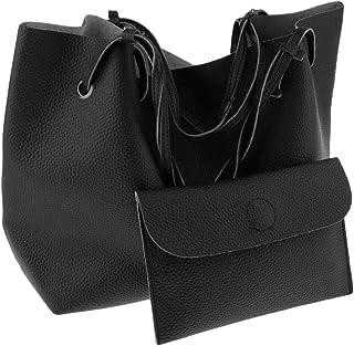 Prettyia 2pcs/set Women Leather Large Tote Shoulder Handbag Purse Shopper Clutch Bags