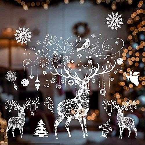 KAIXIN CupChristmas Raamsticker Wit Kerstmis Rendier Sneeuwvlok Ontwerp Statische PVC Stickers Verwijderbare DIY Muursticker Muursticker voor Kerstmis Thuis Winkel Display Decoraties