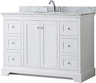 Wyndham Collection Avery 48 Inch Single Bathroom Vanity in White, White Carrara Marble Countertop, Undermount Oval Sink, and No Mirror