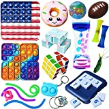 Sensory Fidget Toys Set, Simple Dimple Figetget Toys Pack Stress Relief Anti-Anxiety Push Pop Bubble Squishy Squeeze Fidgets Box Miniature Novelty Toy for Autistic ADHD Kids Adults