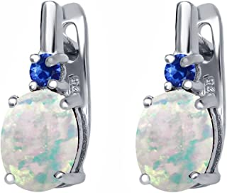 Gem Stone King 3.36 Ct Oval Cabochon White Simulated Opal Blue Sapphire 925 Sterling Silver Earrings
