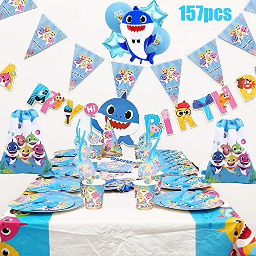 Artículos De Fiesta De Cumpleaños For Niños Tema De Dibujos Animados Vajilla Desechable Plato De Papel Sombrero Set De Mantel Adecuado For Niños Suministros para la Fiesta (157 Piezas)