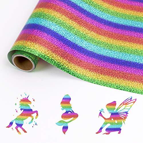 HTVRONT Holographic Plotterfolie Textil 30.48cm x 182.88cm mit Regenbogen Streifen Flexfolie für Cricut & Silhouette Cameo für T-Shirts & Stoffe