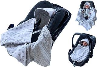 babees© einschlagdecke Minky Baby Carcasa Auto asiento techo [estrellas color blanco + gris]