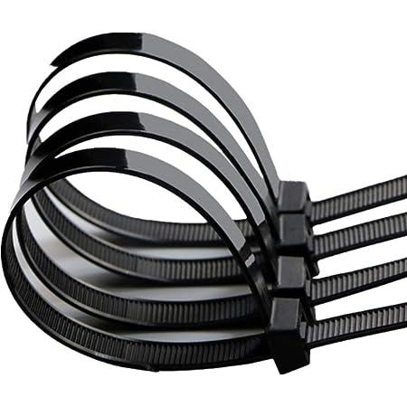 300 Serre C/âble Autobloquant en Nylon 4x200mm 4x250mm Plastique Colliers Serre-c/âble en Nylon R/ésistant de Qualit/é Sup/érieure Attache C/âble Ties Noir Blanc Vert pour Maison Bureau Jardin R/ésiste 40 lb