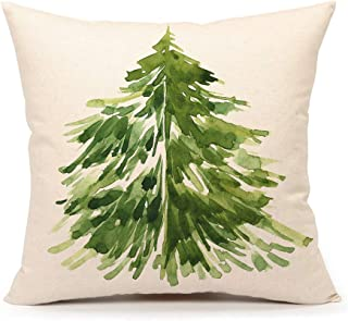 4TH Emotion Watercolor Christmas Tree Throw Pillow Cover Cushion Case for Sofa Couch 18