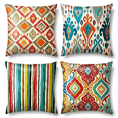Blisset Boho Pillow Covers 18x18 Throw Pillows Covers Set of 4, Flax Material Very Soft, with for Couch Bed, Living Room, Home Decorative, Square Cushions Cases, 45 x 45 cm(01 European Style)