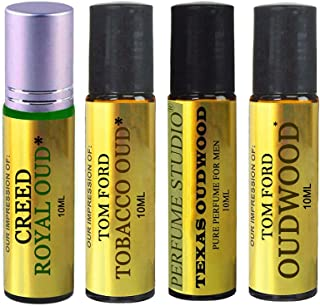 Perfume Studio Premium IMPRESSION Oils; A Collection of our Top Selling Oud Type Fragrance Versions with Similar Notes to Designer Brands - 100% Pure, Undiluted, No Alcohol (4, 10ml Roll on Bottles)
