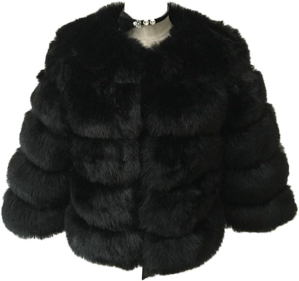 GESELLIE Women's Winter Warm Faux Fur Collarless Furry Short Outwear Coat Black