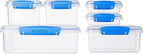 حافظات تخزين طعام متعددة القطع بمجموعة متنوعة من الاشكال والالوان من سيستما، مجموعة من 6 قطع، متنوعة