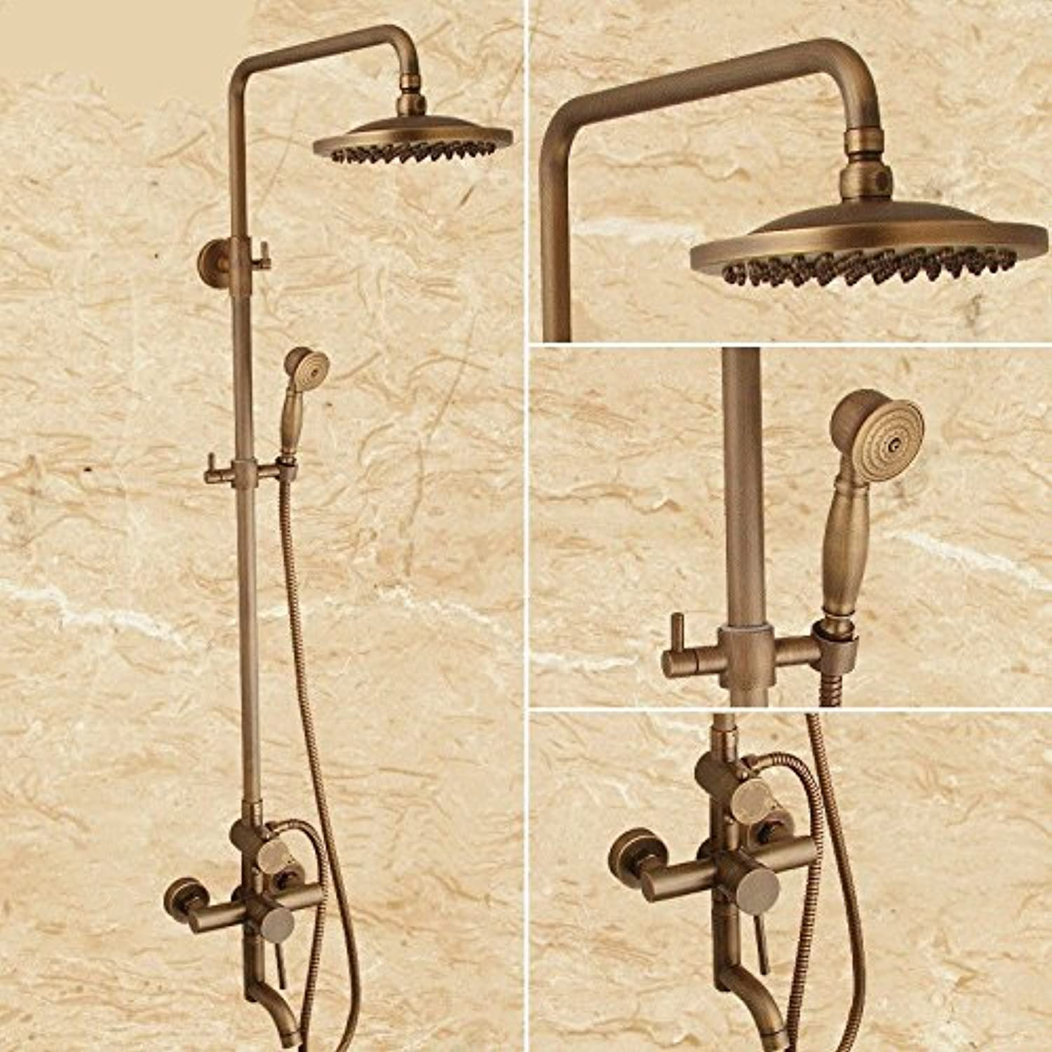 SADASD European High-End Copper Bathroom Shower Faucet Antique Shower Set Retro Can Be Raised And Lowered redating Water Shower Faucet Hot And Cold Water Ceramic Valve Mixer Tap