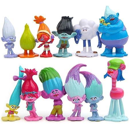 WENTS Trolls Doll Cake Topper Mini Juego de Figuras Niños Mini Juguetes Baby Shower Fiesta de cumpleaños Pastel Decoración Suministros 12 piezas