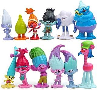 WENTS Trolls Doll Cake Topper Mini Juego de Figuras Niños Mini Juguetes Baby Shower Fiesta de cumpleaños Pastel Decoración...