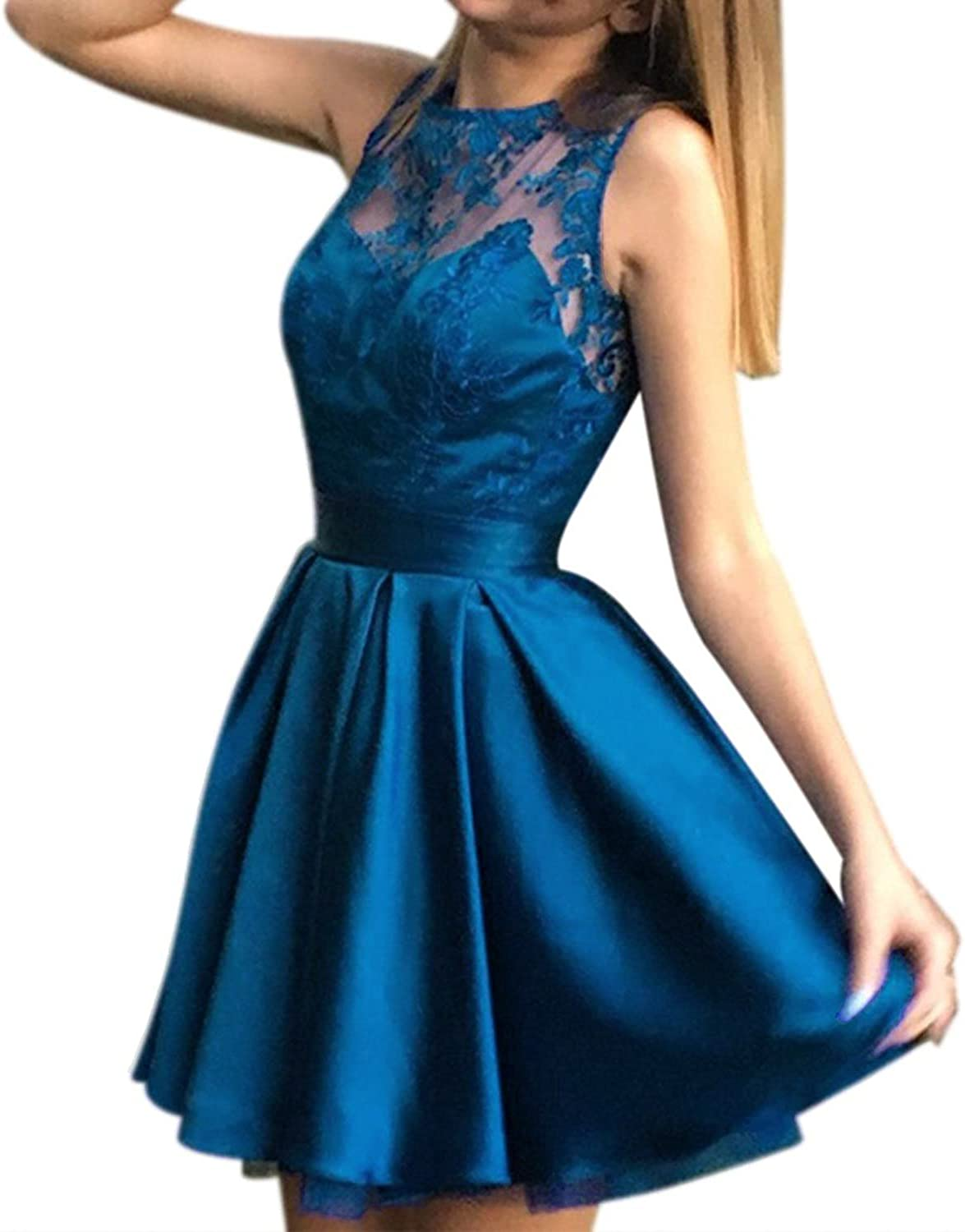 Modeldress Sexy Backless Sleeveless Lace Satin Prom Dresses ALine Short Party Gowns