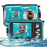 ETE ETMATE Fotocamera per bambini, Fotocamera impermeabile Dual Screen Full HD 2.7K Fotocamera digitale 48MP, con autoscatto LED per microfono e Fotocamera subacquea con zoom digitale 16X (blu)