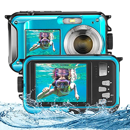 ETE ETMATE Cámara para niños, cámara a Prueba de Agua con Doble Pantalla, Full HD, 2.7K, 48MP, cámara Digital, con micrófono, Temporizador LED y cámara subacuática con Zoom Digital 16X (Azul)