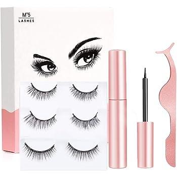 Magnetic Eyelashes - 3D Magnetic Eyelashes with Eyeliner Kit, 3 Pair Reusable Eyelashes Natural Look, Magnetic Eyeliner and Lashes with Applicator - no Glue Needed