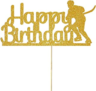 NN-BH Golden Flash Happy Birthday Cake Topper, Birthday Party Cake Decoration, Sports Theme Cake Topper (Hockey)