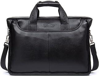 BOSTANTEN Leather Briefcase Laptop Messenger Business Bags for Men Black 15.6 Inch