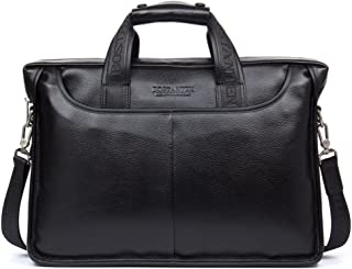 BOSTANTEN Leather Briefcase Laptop Messenger Business Bags for Men Black 15.6 Inch