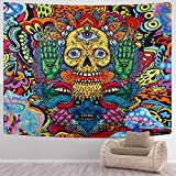 SENYYI Trippy Skull Tapestry Psychedelic Mushroom Tapestry Horror Monster and Evil Eyes Tapestry Satanic Wall Hanging for Room (51.2 x 59.1 inches)