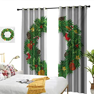 WinfreyDecor Christmas Fashionable Curtains Festive Wreath Evergreen with Candy Cane Stockings Mistletoe Berries on Door Noise Reducing W84 x L96