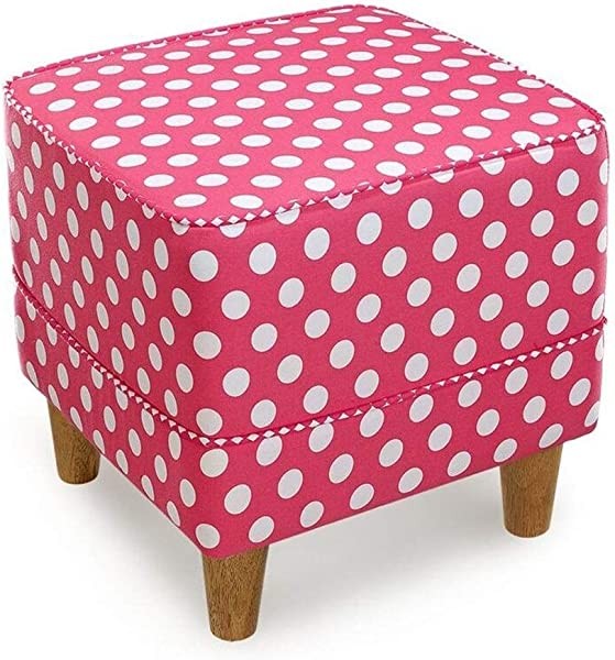 Carl Artbay Wooden Footstool Pink Square Wave Point Printing Wearing A Shoe Stool Cloth Change The Shoe Stool Modern Stool Home