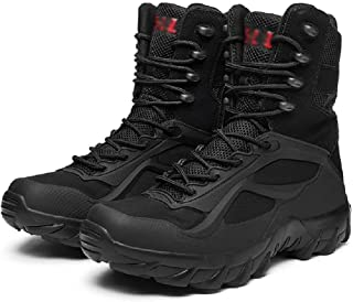 LANTUI Men's Military Tactical Boots, Lightweight Tactical Combat Ankle Boots Water Repellent Breathable Hiking Boots,Blac...