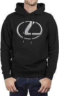 Mens Guys Black Hoodie Lexus-Logo- Fleece Long Sleeve Pullover