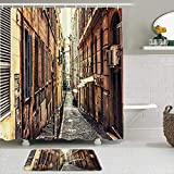 TARTINY Juego de Cortina de Ducha de2piezas con alfombras Antideslizantes,Calle Tradicional de café Italiano Estrecho con 12 Ganchos,Suministros de baño,Alfombra de baño y Cortina de Ducha
