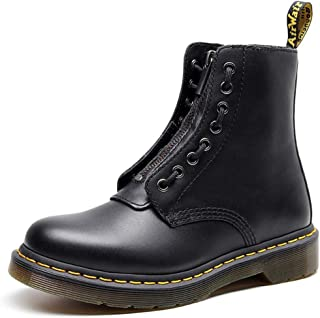 Dr. Martin unisex boots Neutral boots with double front zippers two leather short boots couple motorcycle boots Comfortable Non-slip Wear-resistant (Color : Black, Size : 46)
