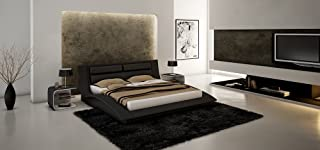 J&M Furniture Wave Black White Leather & Lacquer Bedroom Set -Queen Size