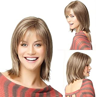 Asdfnfa Blonde Wig - Natural Straight Synthetic Wigs for Women Party Scissor