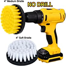 HIFROM 2 PCS, Soft and Medium Drill Brush Power Scrubbing Brush Drill Attachment for Cleaning Showers, Tubs, Bathrooms, Tile, Grout, Carpet, Tires, Boats,Upholstery