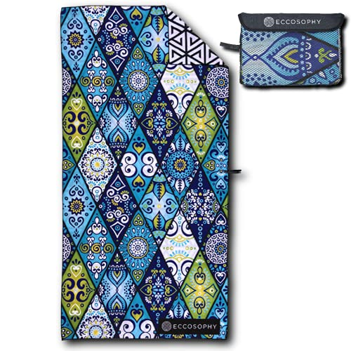 ECCOSOPHY Microfiber Beach Towel - Quick Dry Pool Towels 71x35 inches Oversized Travel Towel - Lightweight Compact Beach Accessories - Large Sand Free Micro Fiber Beach Towels (Mykonos)